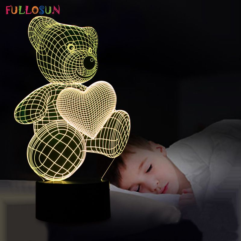 The Cartoon Cute Heart Bear Shape Led Lamp 3d Baby Night Light Affiliate Baby Night Light Sleep Cartoon 3d Night Light