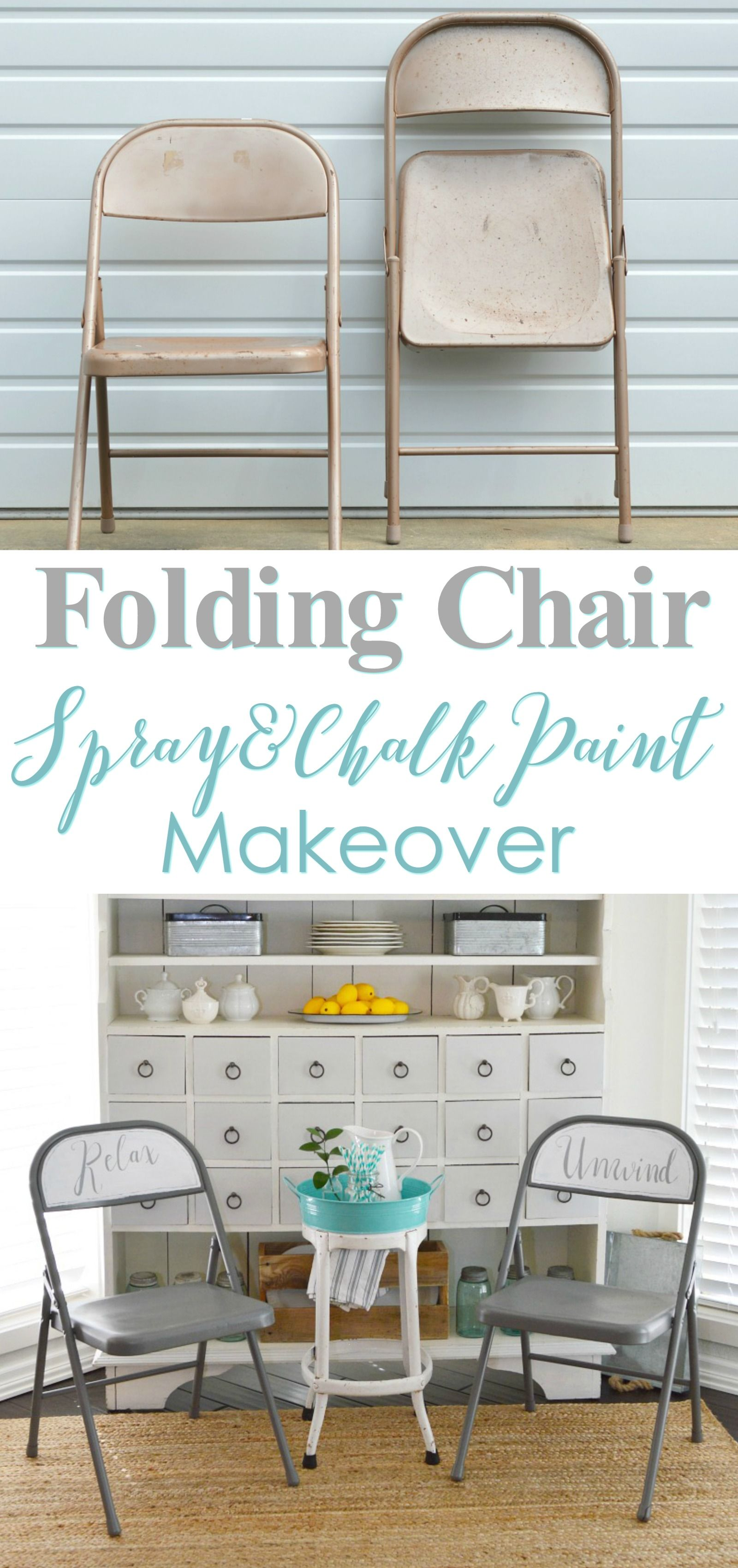 She Bought Old Metal Folding Chairs From The Thrift Store, And Made Them  Over With