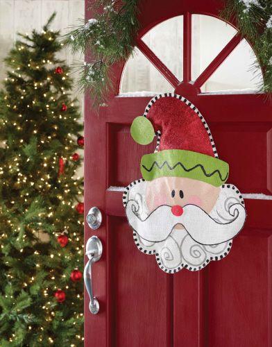 mud pie santa burlap door hanger burlap door decorations burlap door hangers christmas door - Burlap Christmas Door Decorations