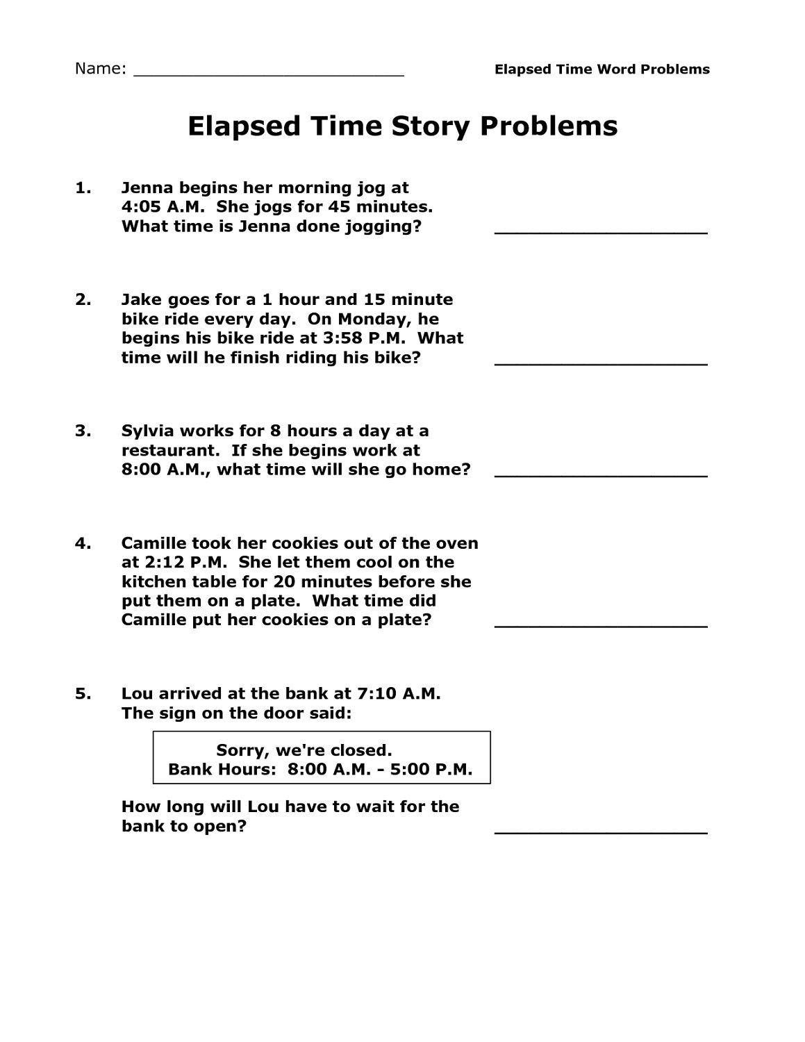 11 Elapsed Time Word Problems Math Worksheets