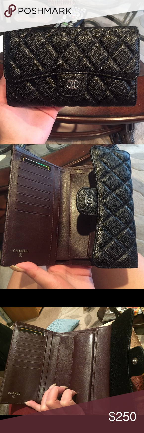Caviar leather long wallet SHW Comes with complete set Designer wallet in SHW.  🅿️🅿️ price only $150. Email me for additional pics! Comes with box, dust bag, authenticity card, care pamphlet, ribbon, paper bag, camelia flower. Bags Wallets
