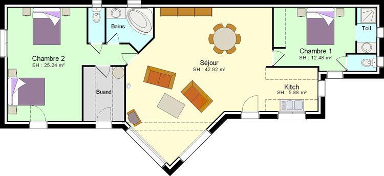 Plan Maison Plain Pied 50m2 Plan Maison Plain Pied Maison Plain Pied Construire Une Petite Maison