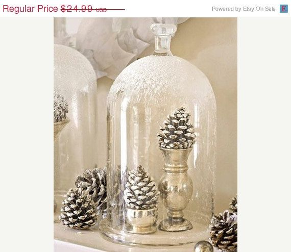 Black Friday White Snow Flocked Cloche Bell Glass Jar with 2 White Glittered Pine cones Gifts under 25.  via Etsy.