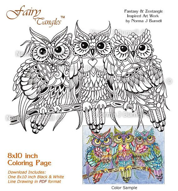 threesome three owls in a tree fairy tangles adult printable coloring book pages owl coloring sheets by norma j burnell owls to color