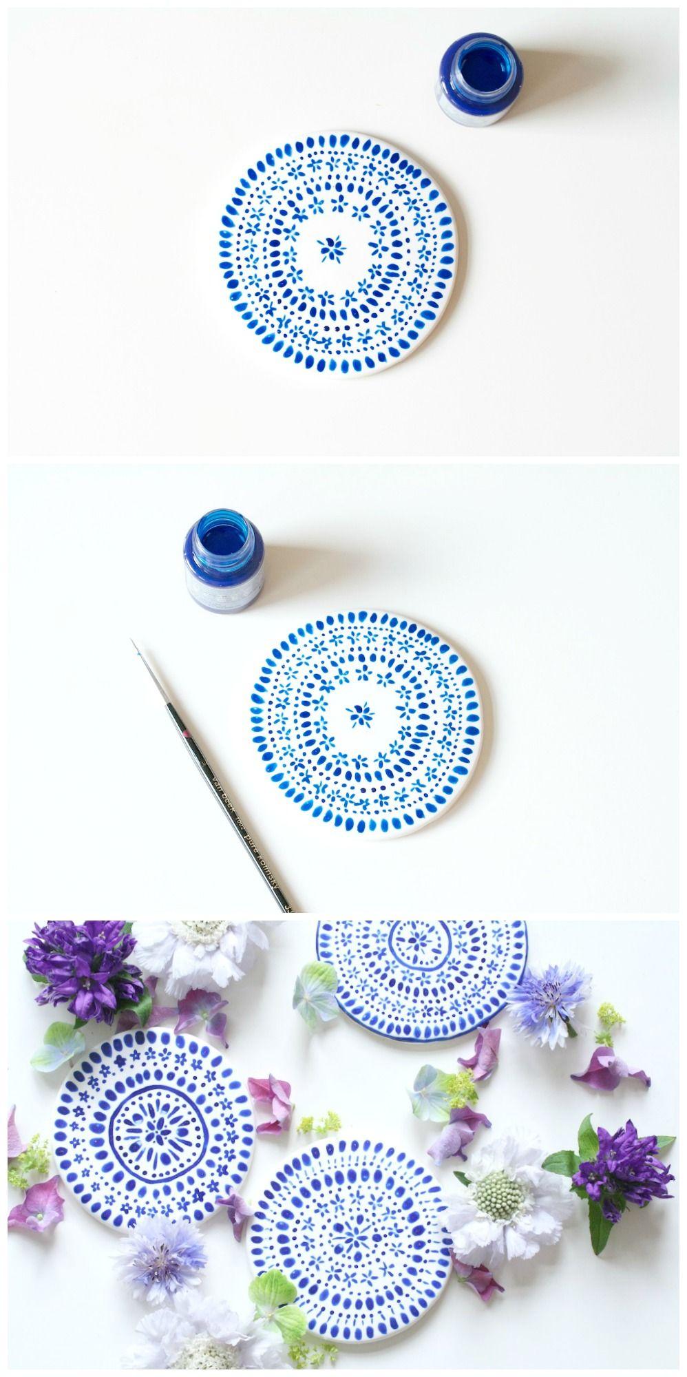 Diy coasters mahalolena diy pinterest craft clay and pottery