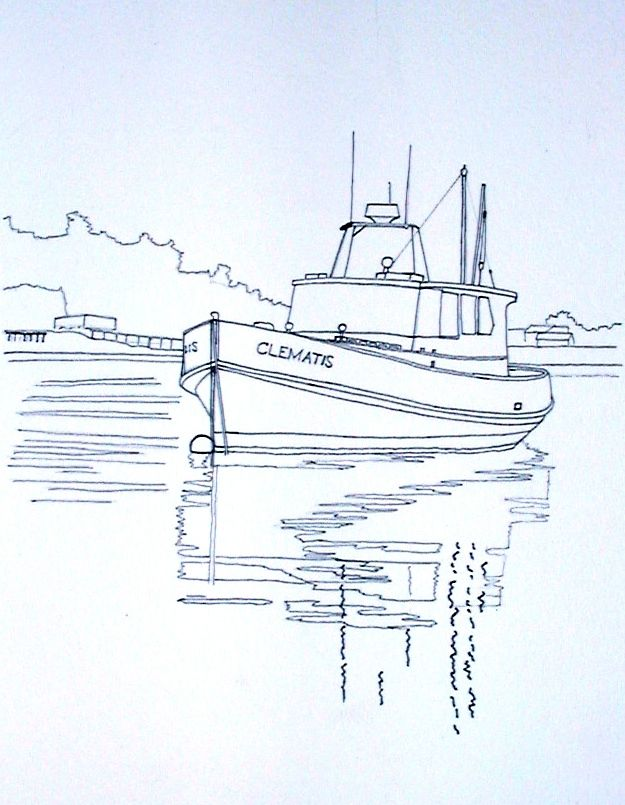Line Drawing Yacht : Watercolor painting of man sitting on a sailing boat and