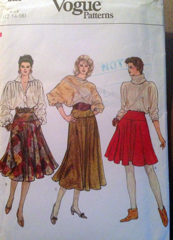 70s Rare original vintage sewing pattern Vogue by SewVintageCo, $10.00 Flared skirt!