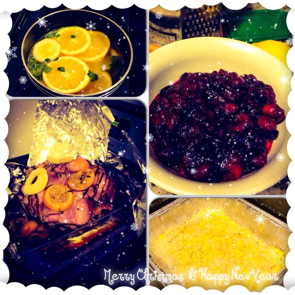 Orange ham glaze, cranberry sauce, plantain pie , ham !!!! Merry Christmas