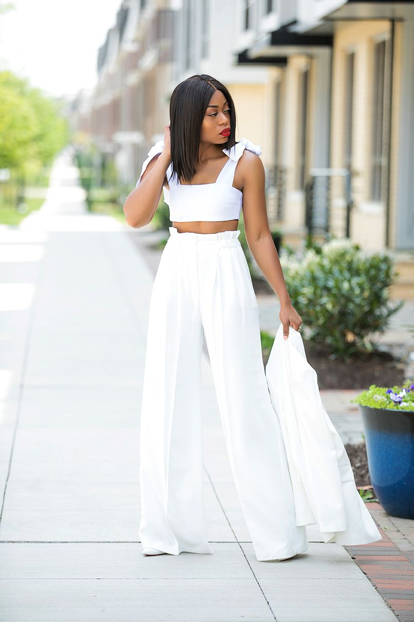 Summer Whites High Waist Pants And Crop Top Www Jadore Fashion Com Crop Top Outfits Summer Crop Top Outfits Fashion [ 1210 x 806 Pixel ]