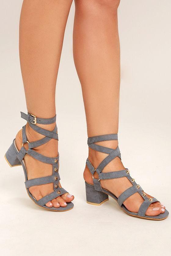 ed3de5991a Lulus - Lulus Galina Grey Suede Studded Leg Wrap Heels - AdoreWe.com ...