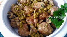 Photo of Meatballs stewed with mushrooms and peas-Polpette in umido c…