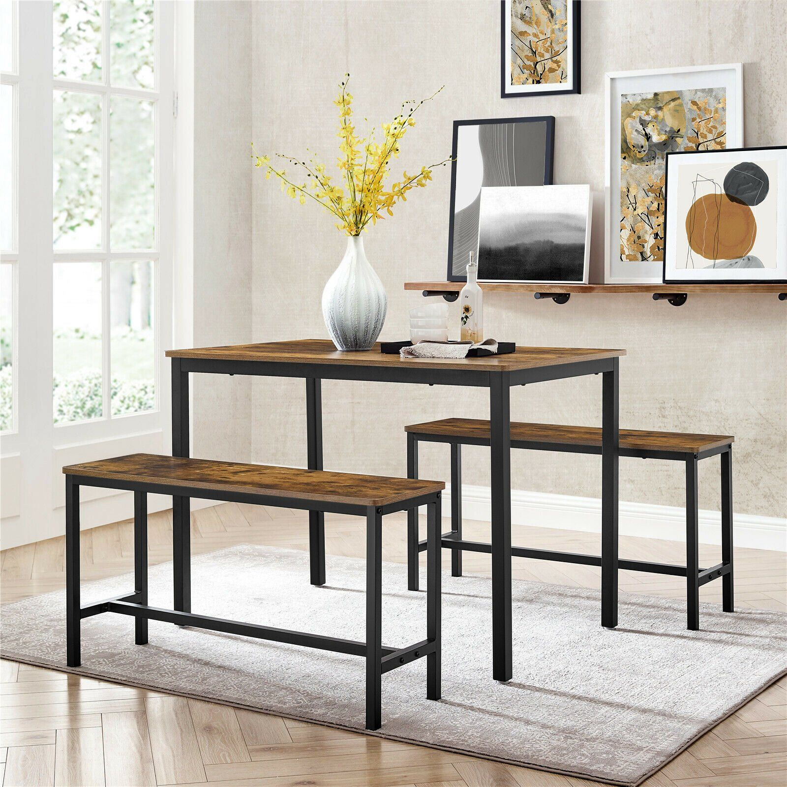 Photo of Rena Rustic Dining Table and Bench Set