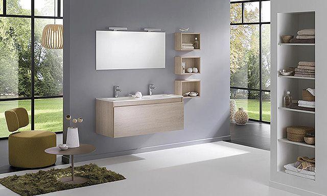 Ensemble Double Vasque Céramique Et Meuble Natura Clair Delpha D - Ensemble meuble salle de bains double vasque 120 cm