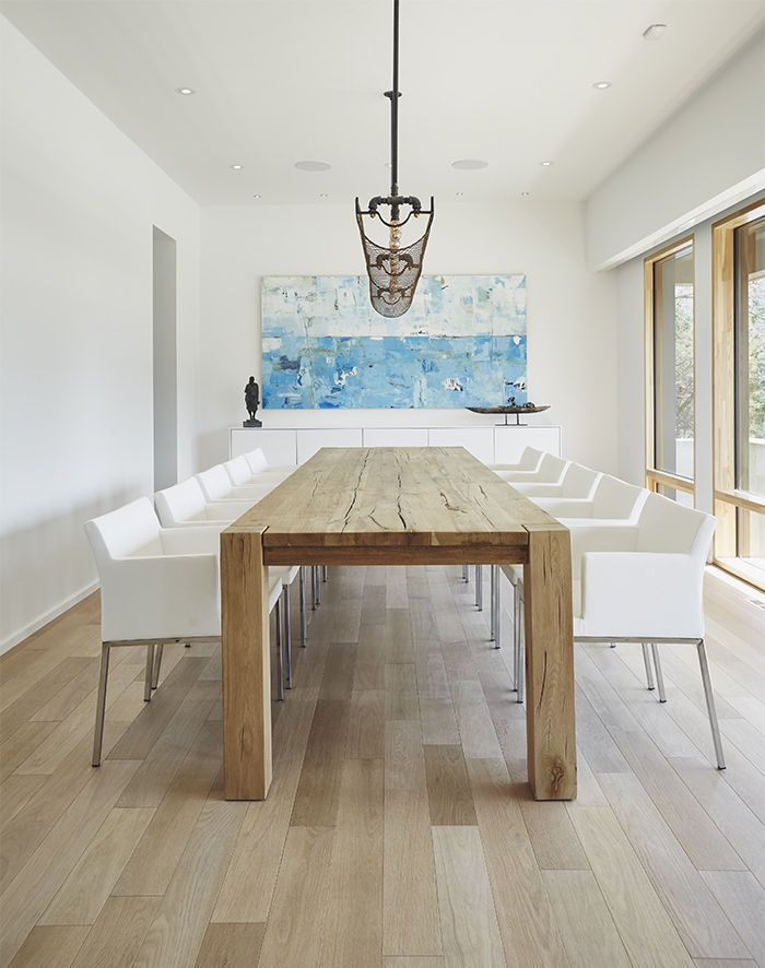 Modern dining room with gray-stained white oak floors ...