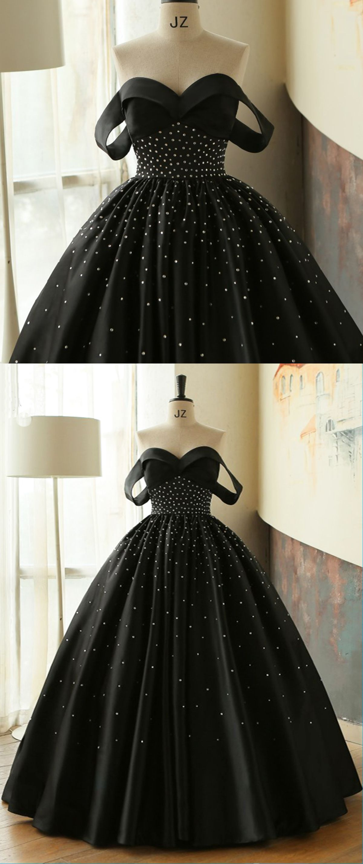 Pretty black satin off shoulder long beaded prom gown prom dress