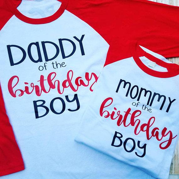 Daddy Of The Birthday Boy Raglan 3 4 Sleeve T Shirt Outfit Baseball Tee Adult