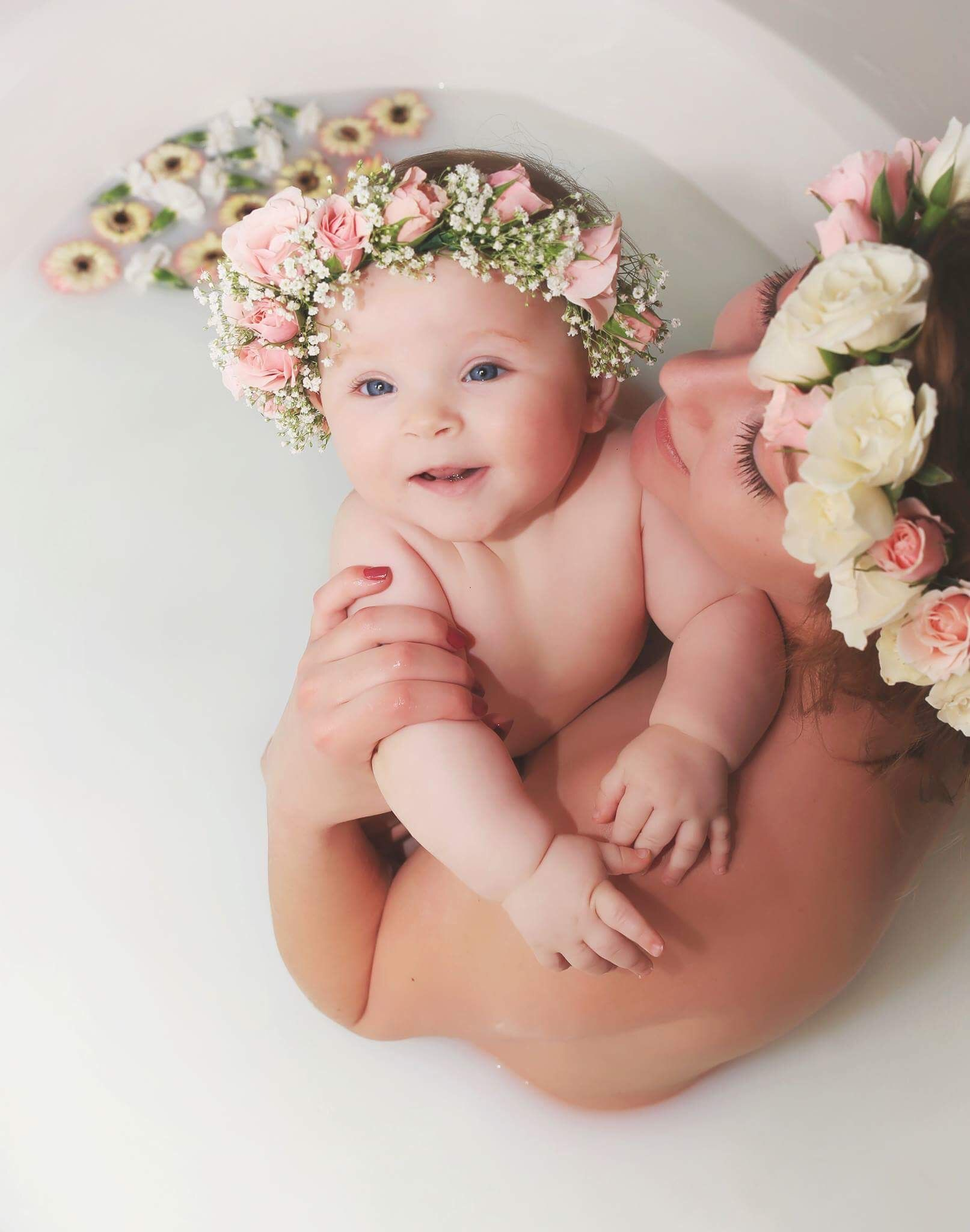 Cute Babys Breath Flower Crown With Spray Roses Baby Flower Crown