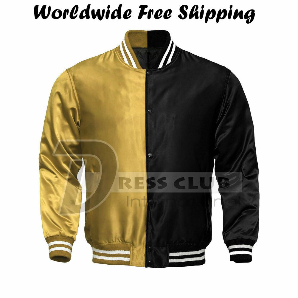 Supreme Men S Black Gold Satin Jacket Varsity College Baseball Jacket Size 4xl Dressclub Varsityjacket Satin Jackets Jackets Varsity Jacket