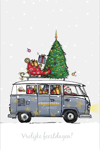 Kerstkaart Met Volkswagenbus Kerstillustratie Kerst Kunst Kerst Auto