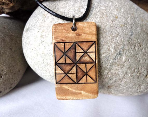 Traditional Quilt Pattern Necklace Pinwheel Necklace by SepiaTree