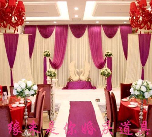Cheap Grape Purple Wedding Backdrop Curtain With Swag Wedding Drapes Backdrop Weddin Cheap Wedding Decorations Affordable Wedding Decorations Wedding Backdrop