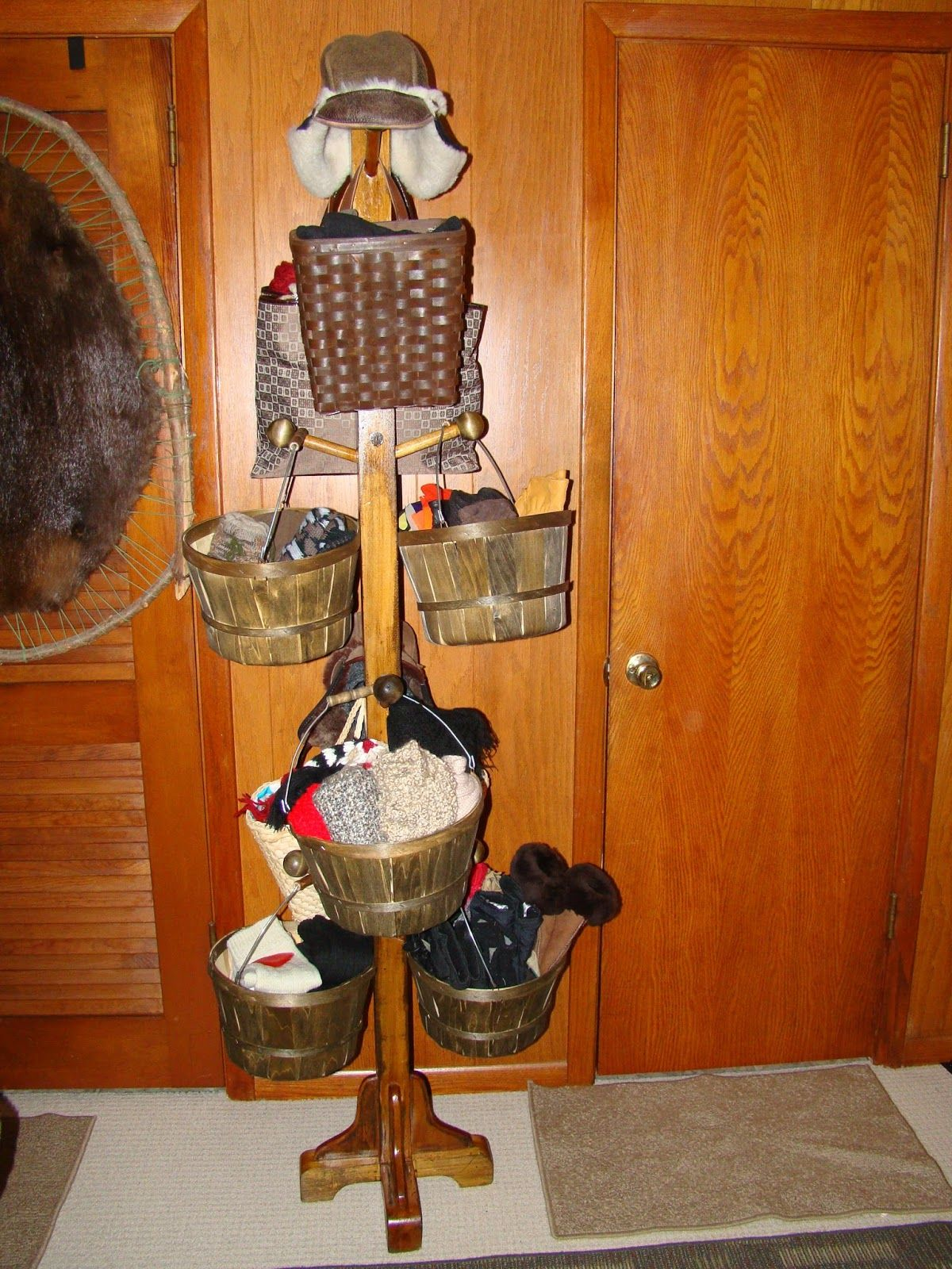 Hat glove and scarf storage if you have lots of hats