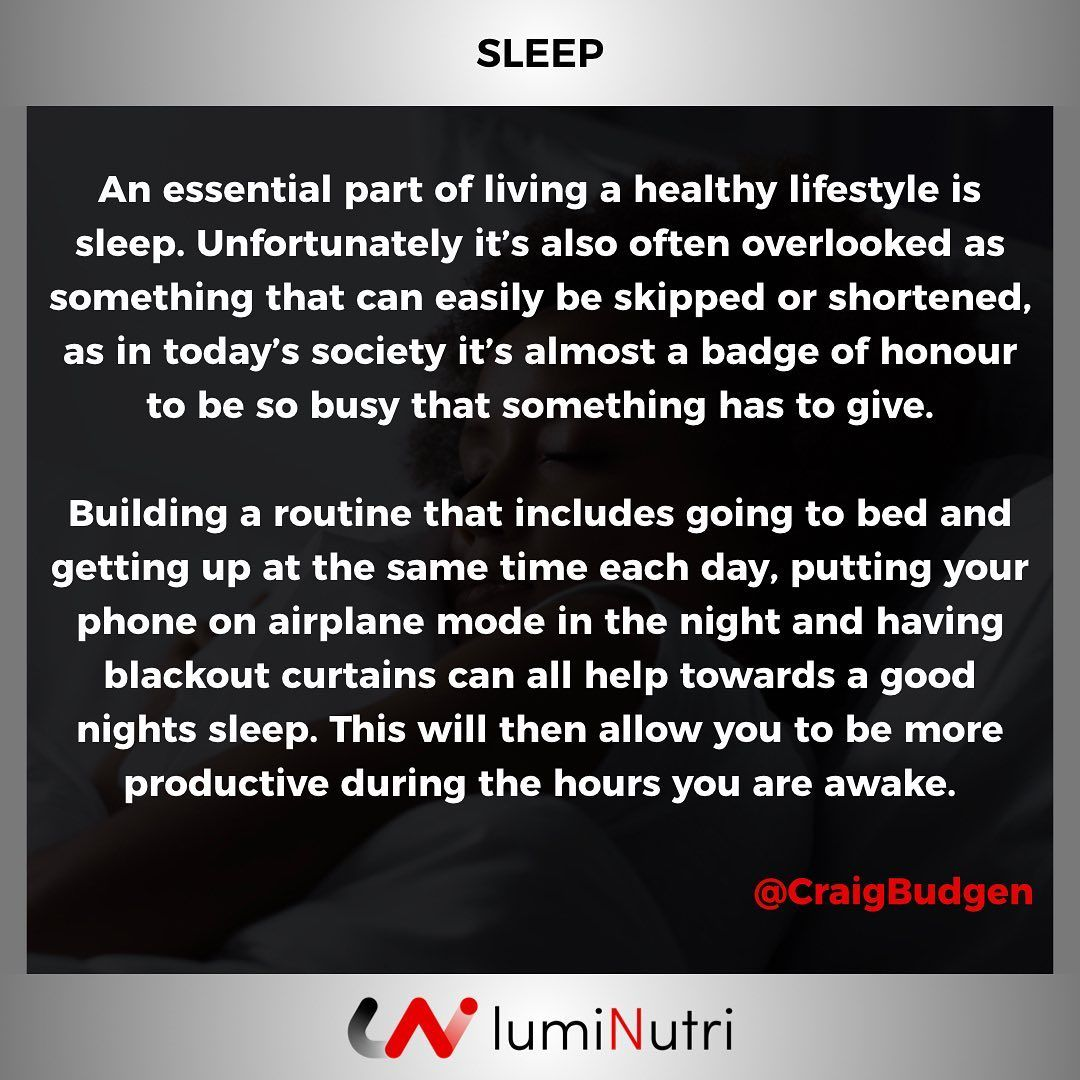 SLEEP is essential if you want to look, feel and/or perform optimally. Building a routine to ensure...
