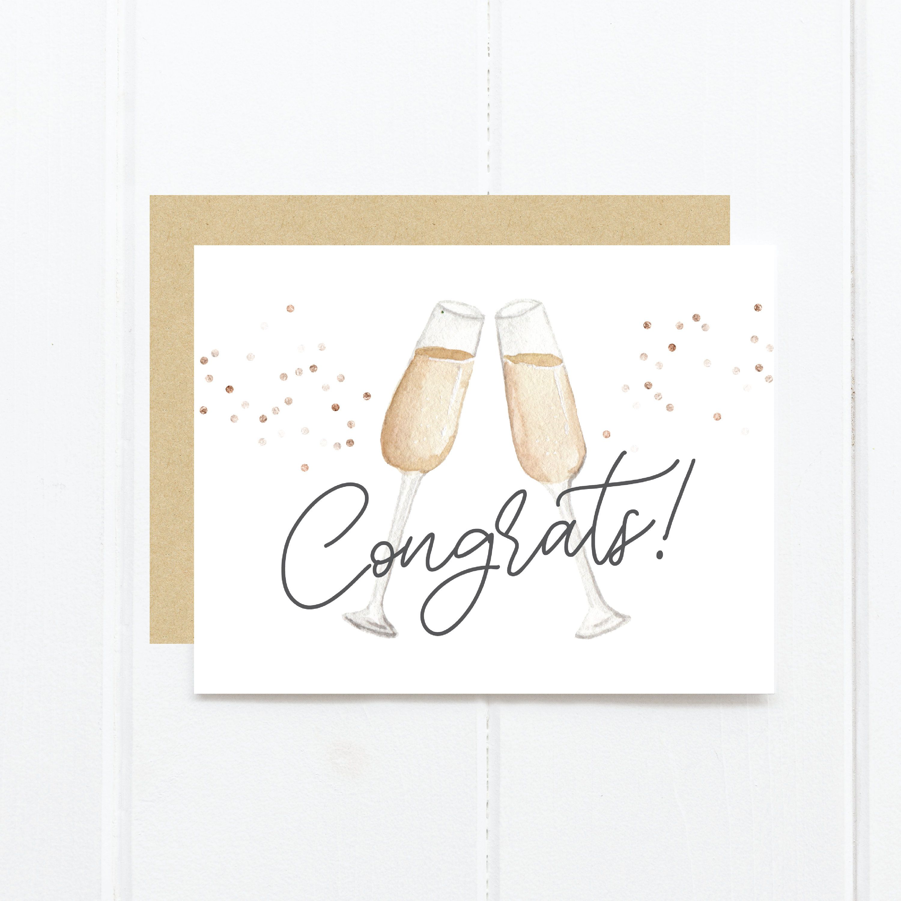 Congratulations Greeting Card | Congrats Newlyweds | Wedding Greeting Card | Watercolor | Champagne | Confetti -   15 wedding Card watercolor ideas