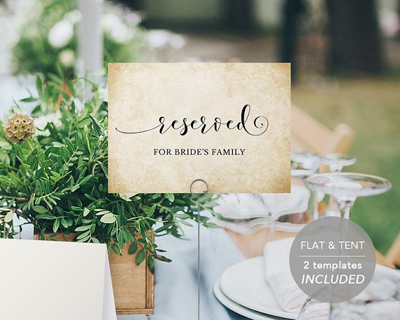 Reserved Sign Printables Editable PDF Template Instant Download - Reserved place card template