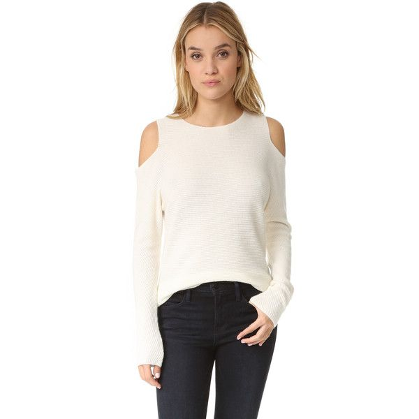 Velvet Avril Cashmere Top ($279) ❤ liked on Polyvore featuring tops, sweaters, long white sweater, white tops, cut-out sweaters, cutout tops and white sweaters