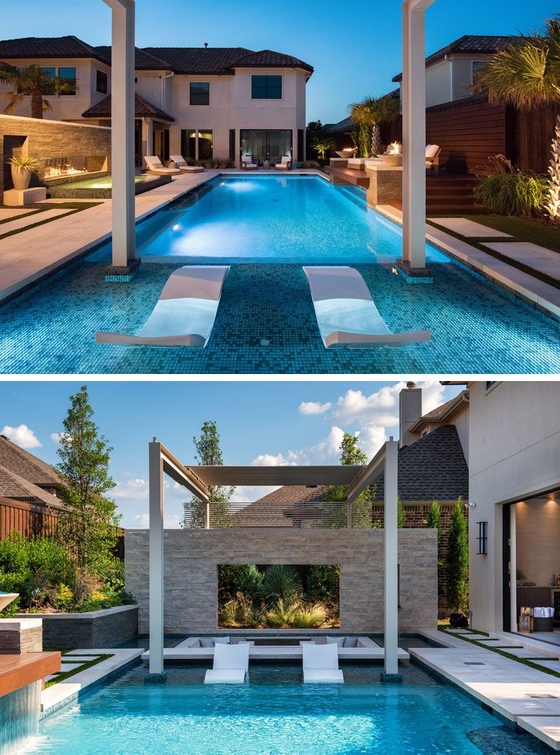 A Sunken Lounge A Cantilevered Deck And A Spa With A Fireplace Help Give This Pool A Luxurious Resort Like Feeling Pool Environment Backyard Pool Designs Pool Ultra modern modern backyard with pool