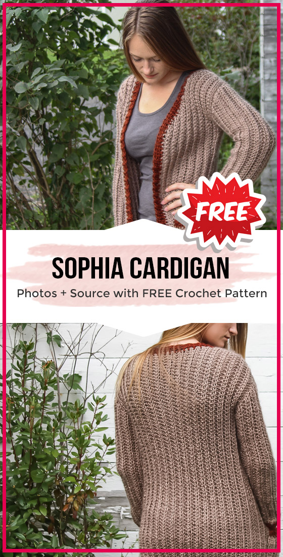Photo of crochet Sophia Cardigan free pattern