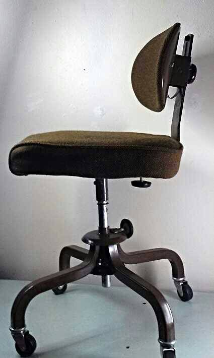 Vintage Brown Tweed Inter Royal Metal Office Chair With