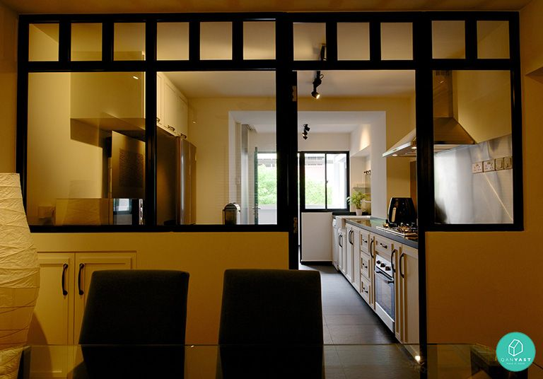 Glass partitions are cooler than solid walls here 39 s why black frame glasses divider and dark - Partition kitchen dining ...