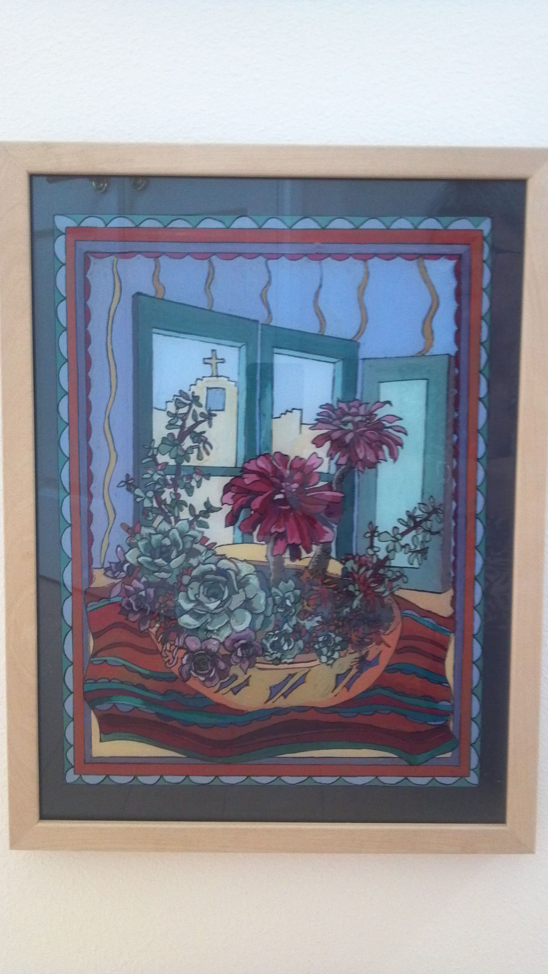 """California Succulents"" - painted behind glass with acrylic paint. (Reverse glass painting)"