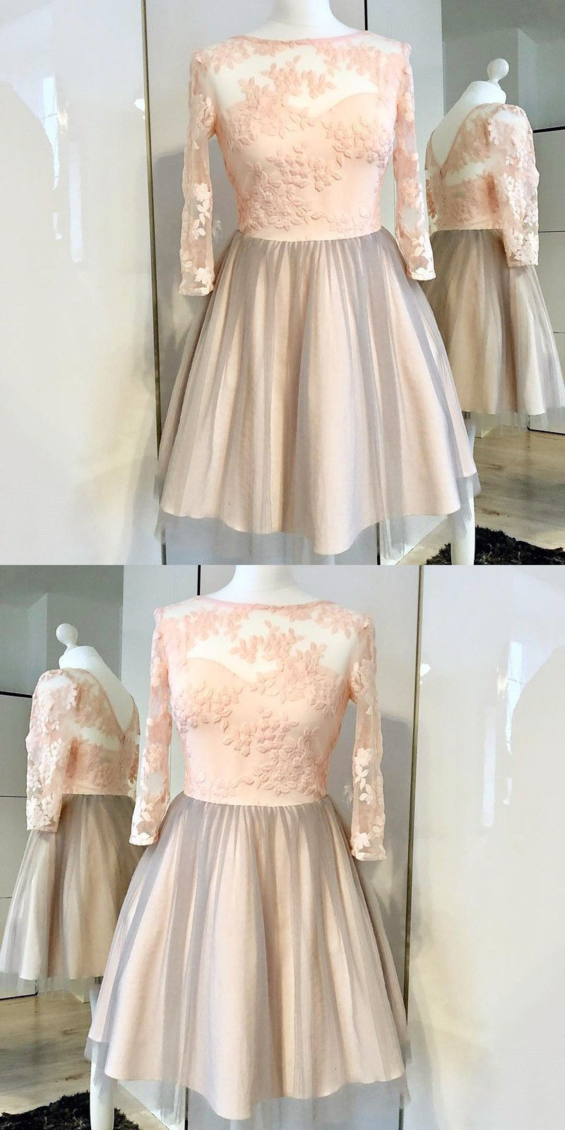 Aline bateau long sleeves pink tulle homecoming dress with