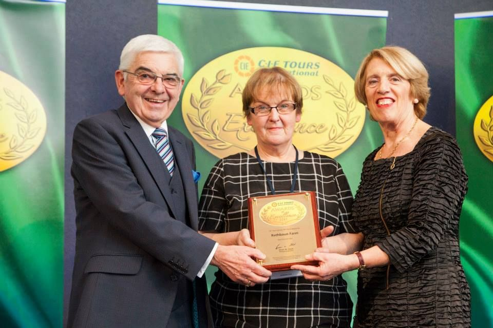 2014 Awards: Gold Award for 'Best Visit' at the 2014 CIE Tours Awards of Excellence awarded to Rathbaun Farm, Galway. Award presented by Ms. Vivienne Jupp, Chairman of CIE Group and Peter Malone, CIE Group. Photo: John Ohle. #cieawards — at Dublin Castle.