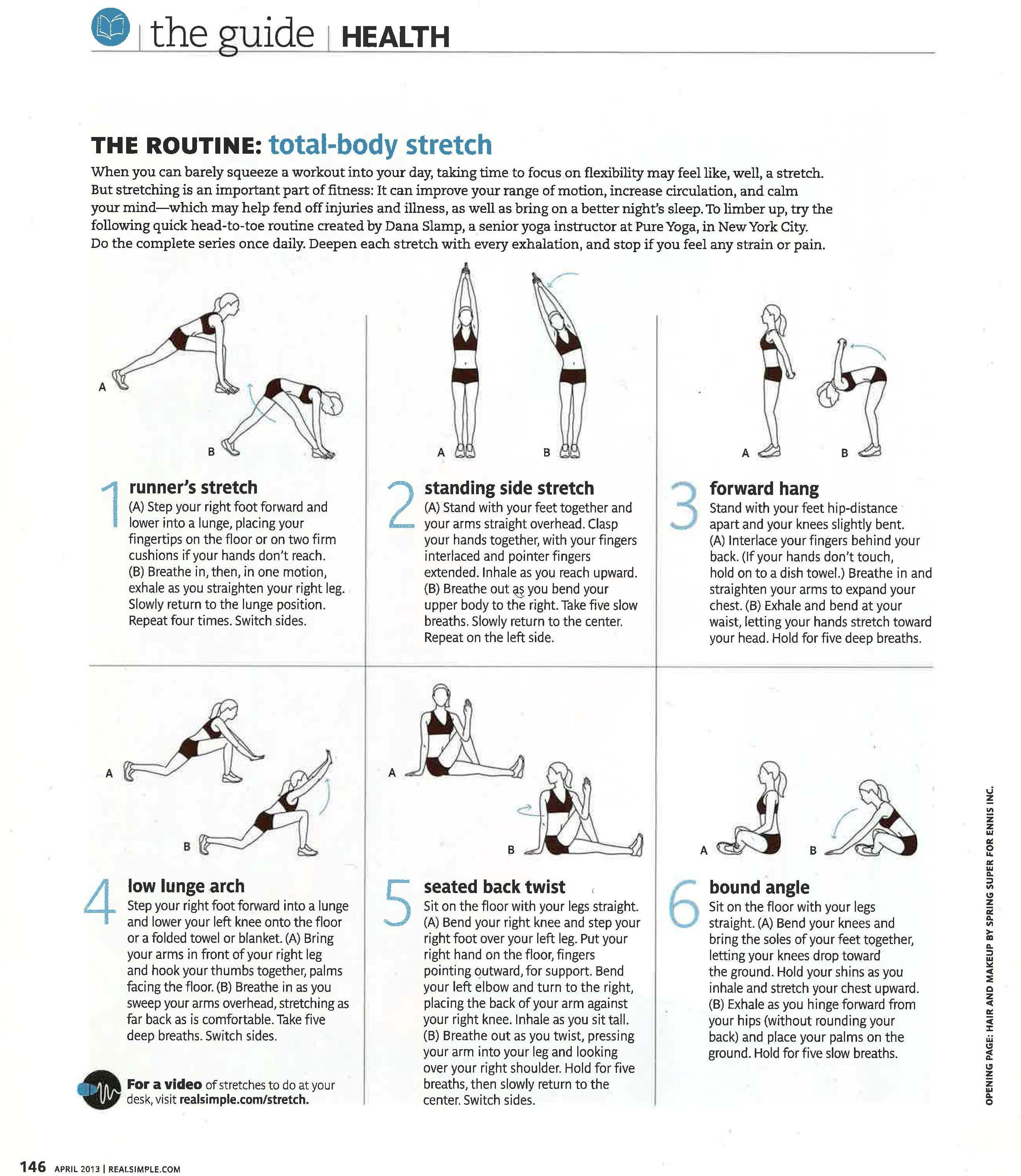 The Routine: total-body stretch Real Simple