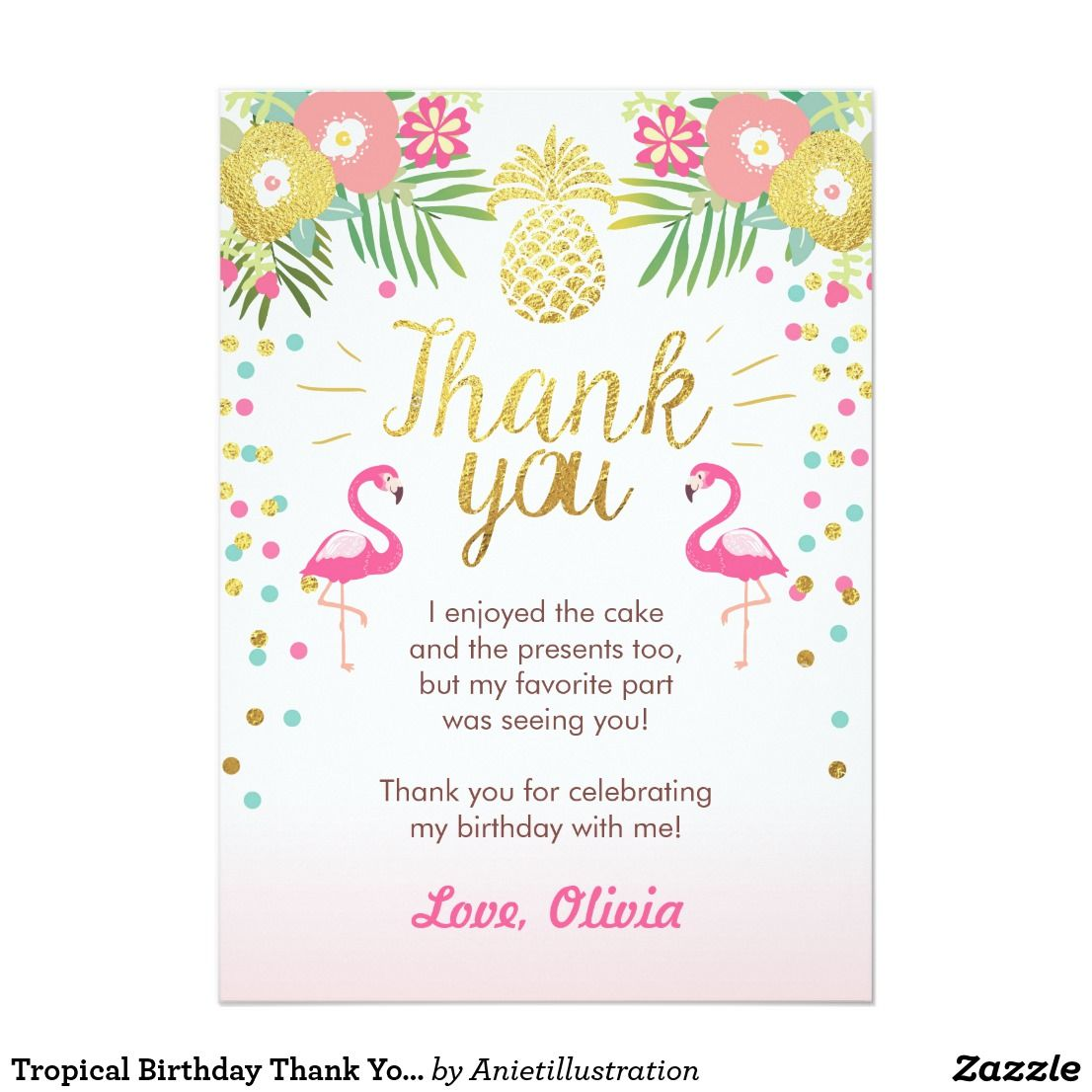Tropical Birthday Thank You Card Luau Flamingo Zazzle Com Flamingo Party Invitation Flamingo Birthday Invitations Flamingo Pool Parties