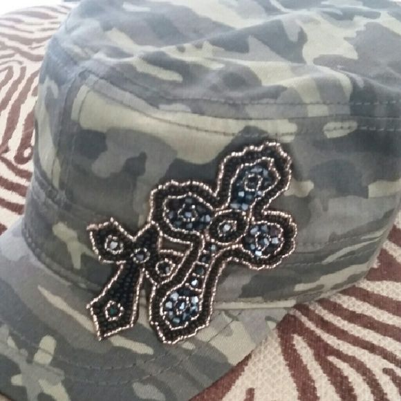 Blingy double cross camo cap Blingy double cross cap camo style cap..very cute and stylish..I love this one:-) Never been worn..NWOT Accessories Hats