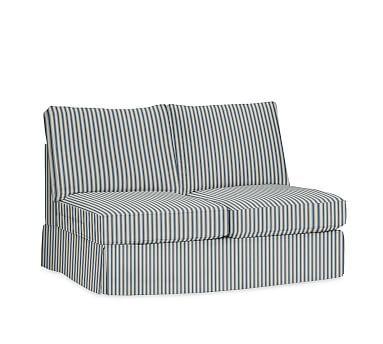 PB Comfort Roll Arm Armless Loveseat Slipcover, Box Edge, Sateen Ticking Stripe Indigo