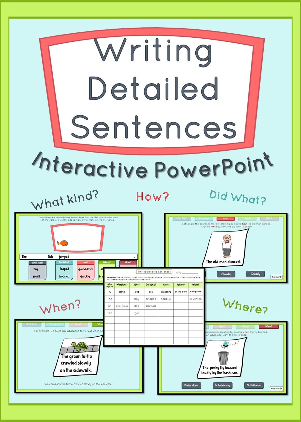 Teach Your Students To Add Adjectives Adverbs Better Verbs And More To Their Writing With This Highly Inte Interactive Powerpoint Teaching Sentences Writing [ 1344 x 960 Pixel ]