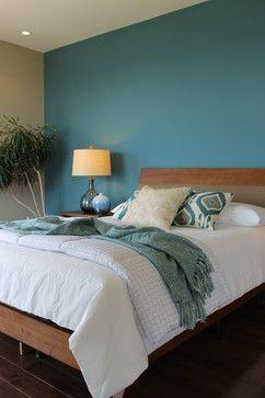 mooie kleurcombinatie slaapkamer petrol hout en grijs