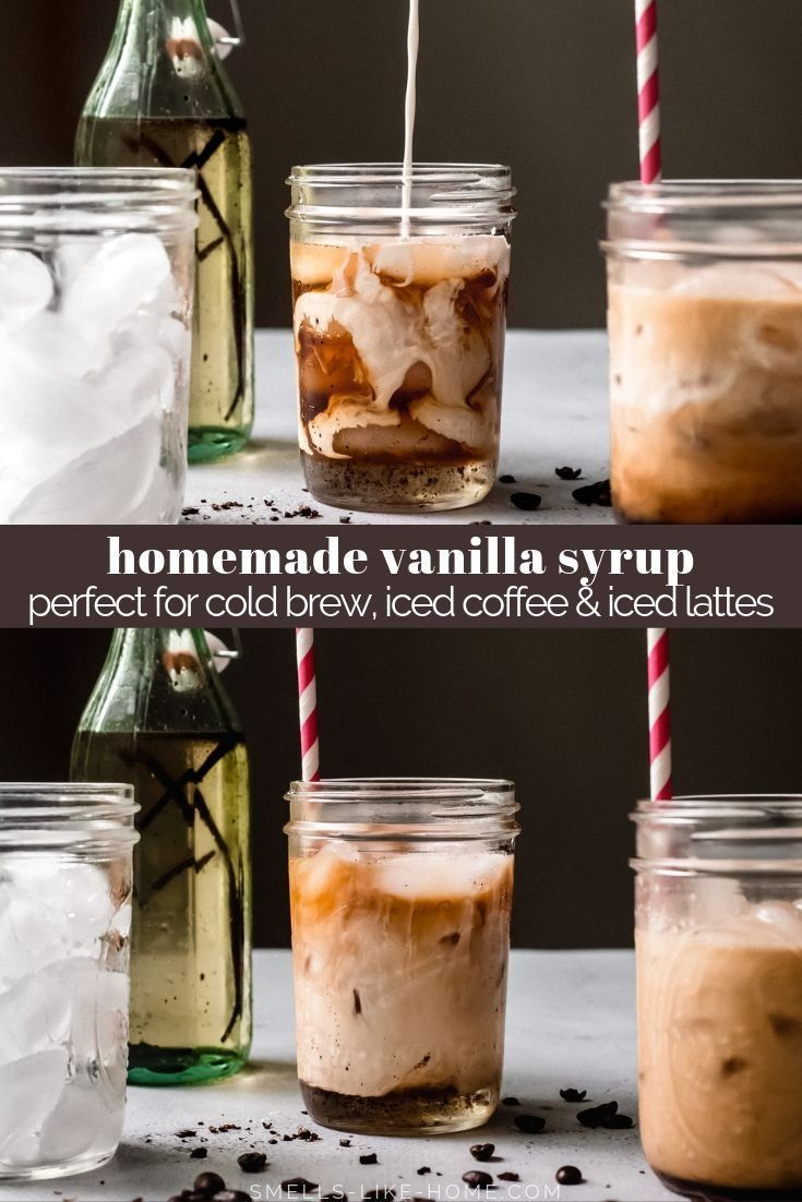 Homemade vanilla syrup for cold brew iced lattes and