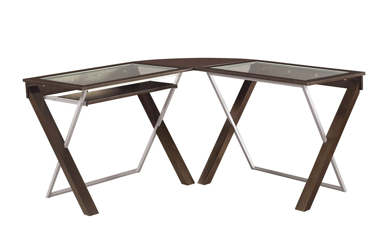 L Shaped Computer Desk With Glass Top L Shaped Computer Desk
