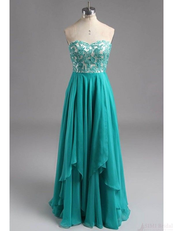 541a2eac0a41 Sweetheart Turquoise Lace Long Chiffon Prom Dresses (ED2137 ...