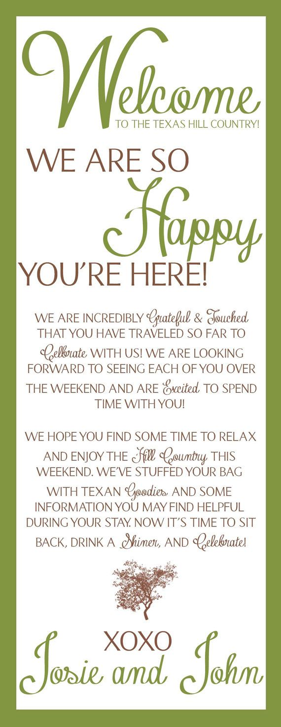 Rustic Welcome Bag Notes You Pick The Coloressage Fully Custom