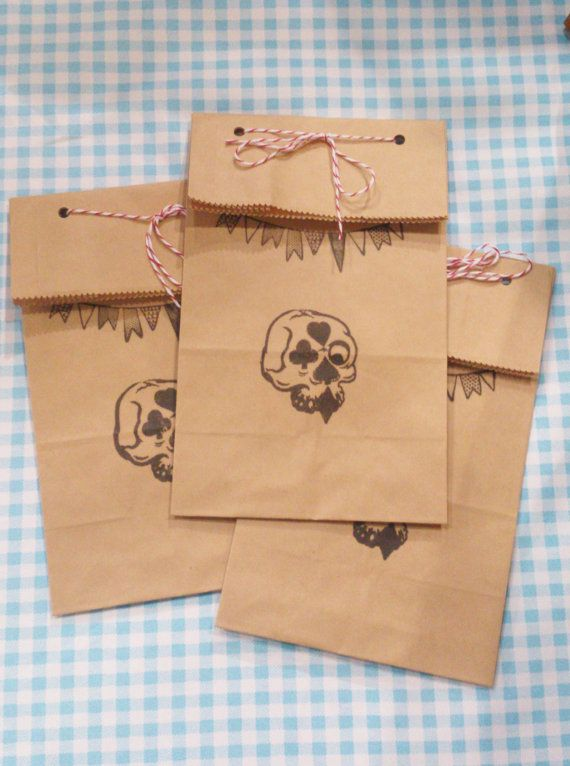 Handmade Skull and Bunting Brown Paper Gift by ApocStationarius