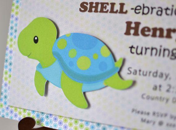 Turtle Birthday Turtle Baby Shower Ocean By Bcpaperdesigns On Etsy