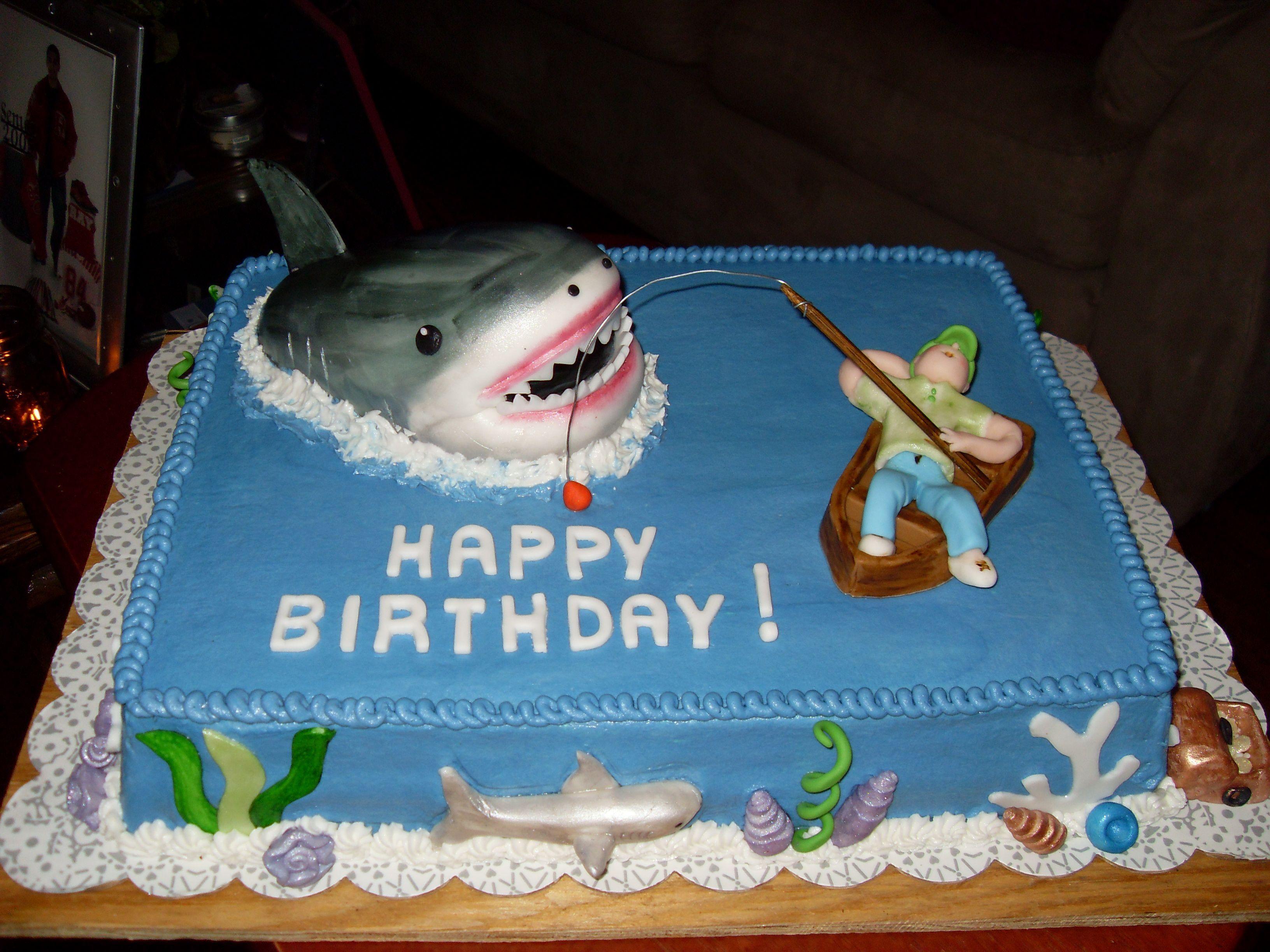 Shark cakes shark birthday cake fishing hunting for Fishing birthday cake